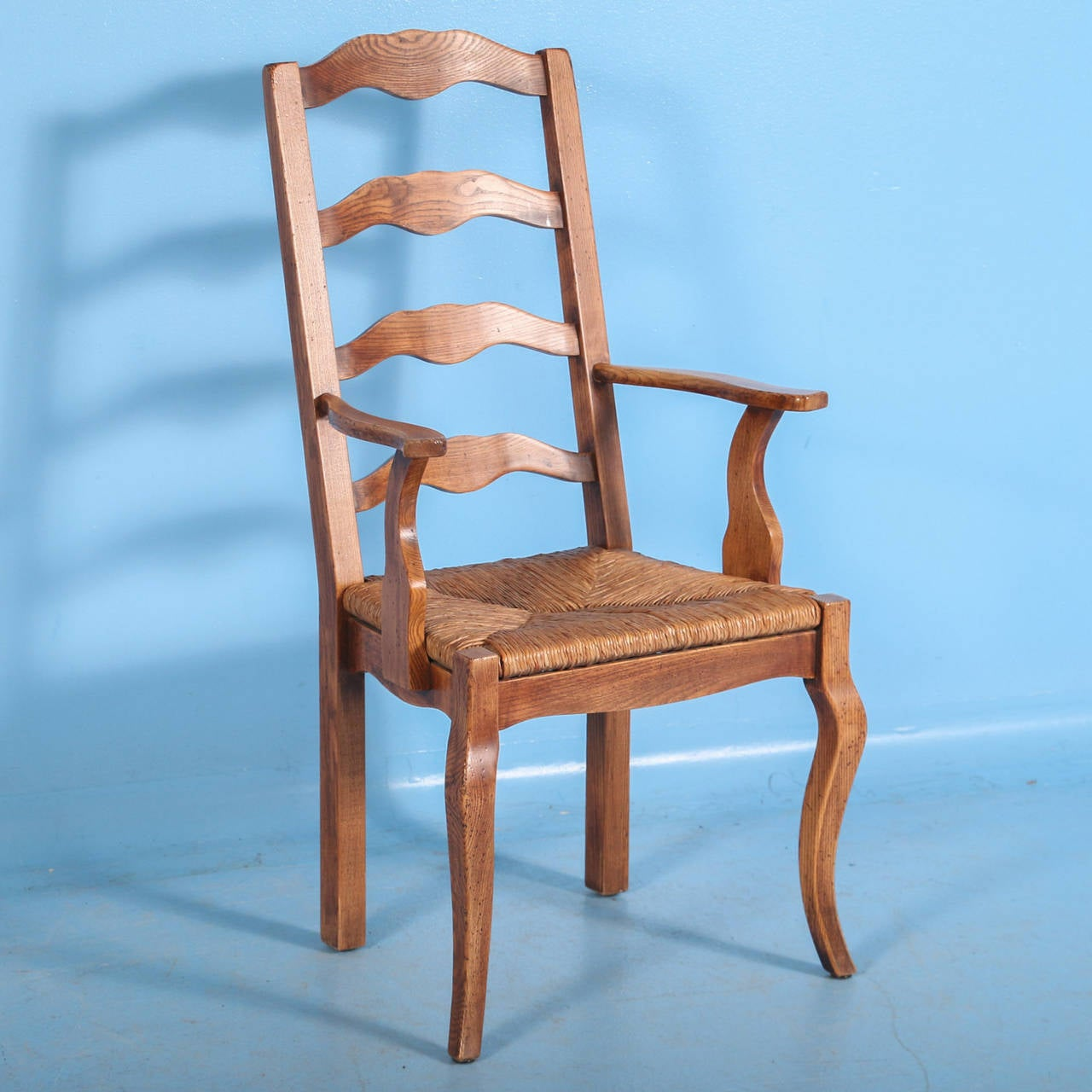 french country dining chairs with arms sofa mart elm wood and rush seat set