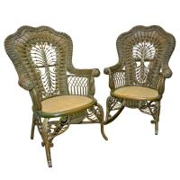 Ornate Victorian Antique Wicker Chair and Rocker For Sale ...