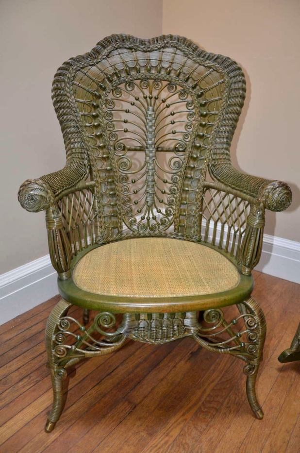 Ornate Victorian Antique Wicker Chair And Rocker For At 1stdibs - Antique Wicker Sofa And Chair Okaycreations.net