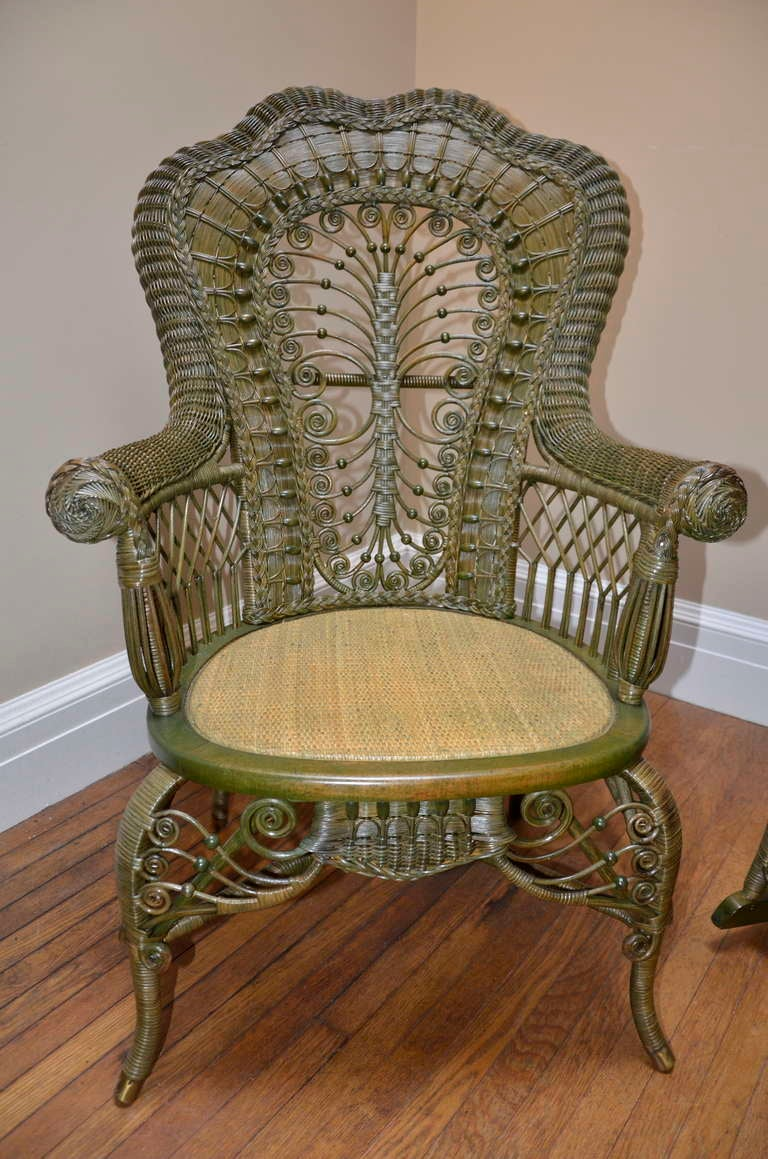 wicker chairs for sale microfiber round swivel chair ornate victorian antique and rocker at 1stdibs american