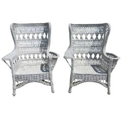 Wicker Wingback Chairs Hanging Chair The Warehouse Antique Bar Harbor For Sale At 1stdibs
