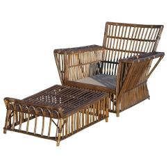 Wicker Lounge Chair Lowes Zero Gravity Chairs Antique And Ottoman At 1stdibs