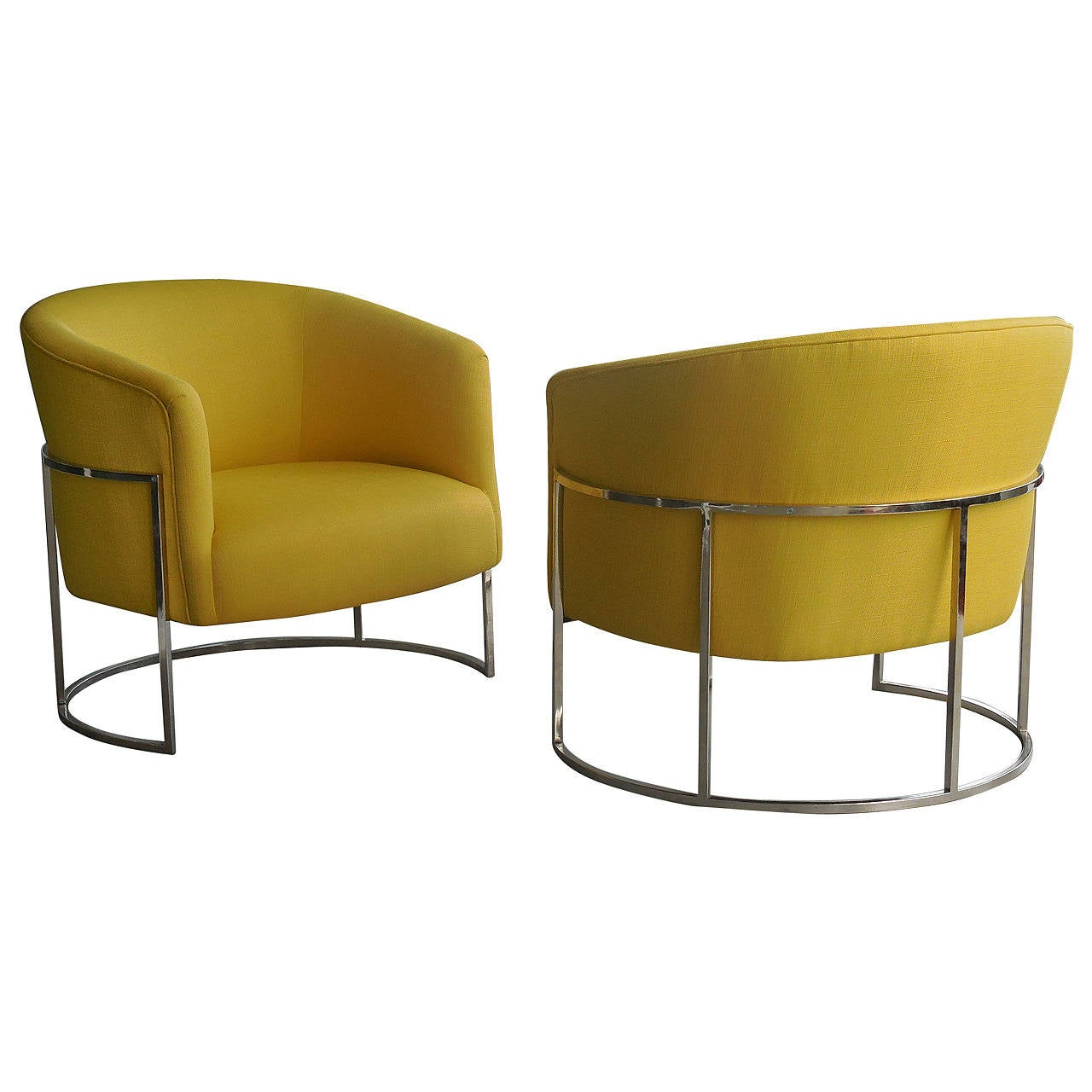 yellow club chair office table pair of barrel chairs by milo baughman at 1stdibs