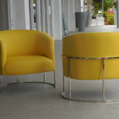Yellow Club Chair Covers Scotland Pair Of Barrel Chairs By Milo Baughman At 1stdibs