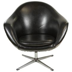 Swivel Chair Egg Vinyl Rocking Chairs 1960s In Black At 1stdibs