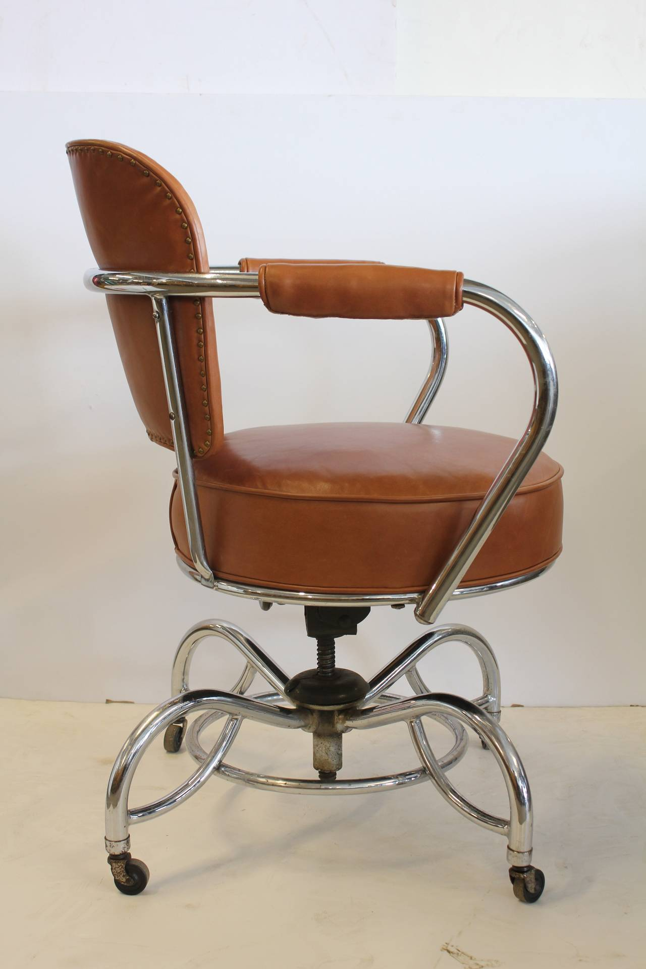 leather chrome chair cover rental tampa stylish art deco and desk at 1stdibs