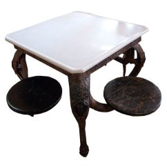 Ice Cream Parlor Table And Chairs Oversized Comfy Chair 1900's American Cast Iron At 1stdibs