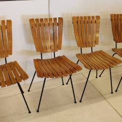 Wooden Slat Chairs Retro Dining Room Table And Mid Century Wood By Arthur Umanoff For