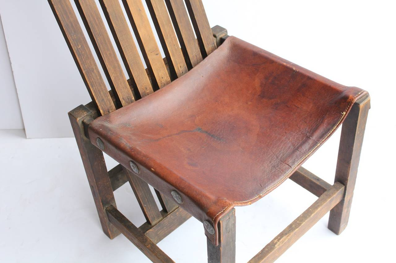 Vintage Accent Chair Antique Leather And Oak Accent Chair For Sale At 1stdibs