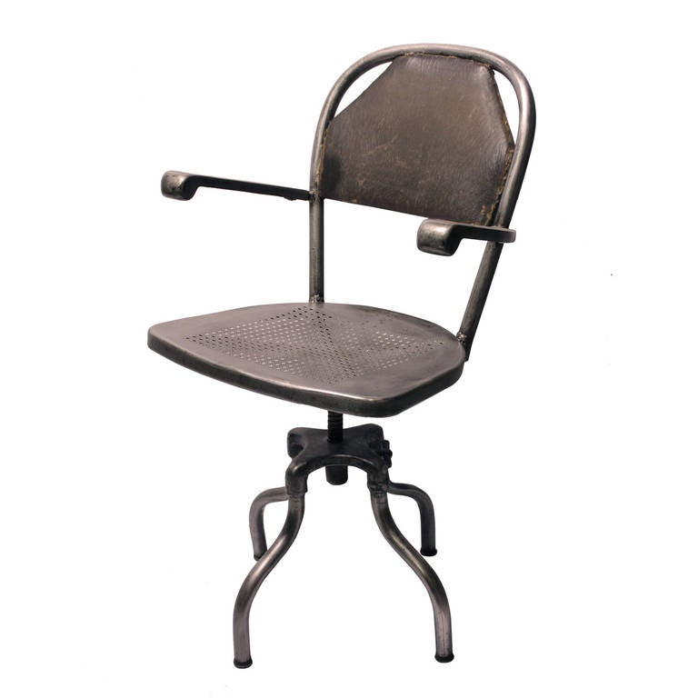 1930s Industrial Metal Desk Chair For Sale at 1stdibs