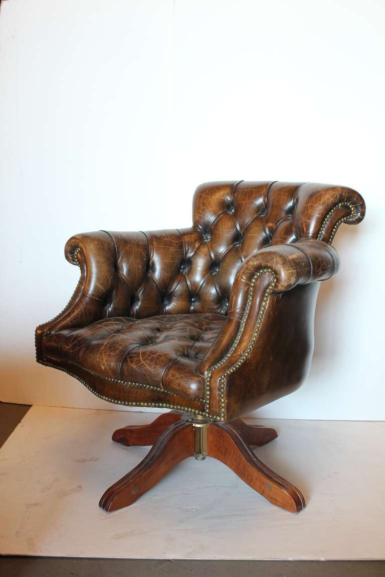 hancock moore chairs metal side chair vintage tufted distressed leather library desk swivel at 1stdibs