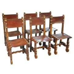Dining Chair Covers In Spanish Ll Bean Rocking Cushions 19th Century Set Of 6 Leather Chairs At 1stdibs