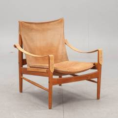 Leather Safari Chair Deck Glides Hans Olsen 1960s Suede And At 1stdibs