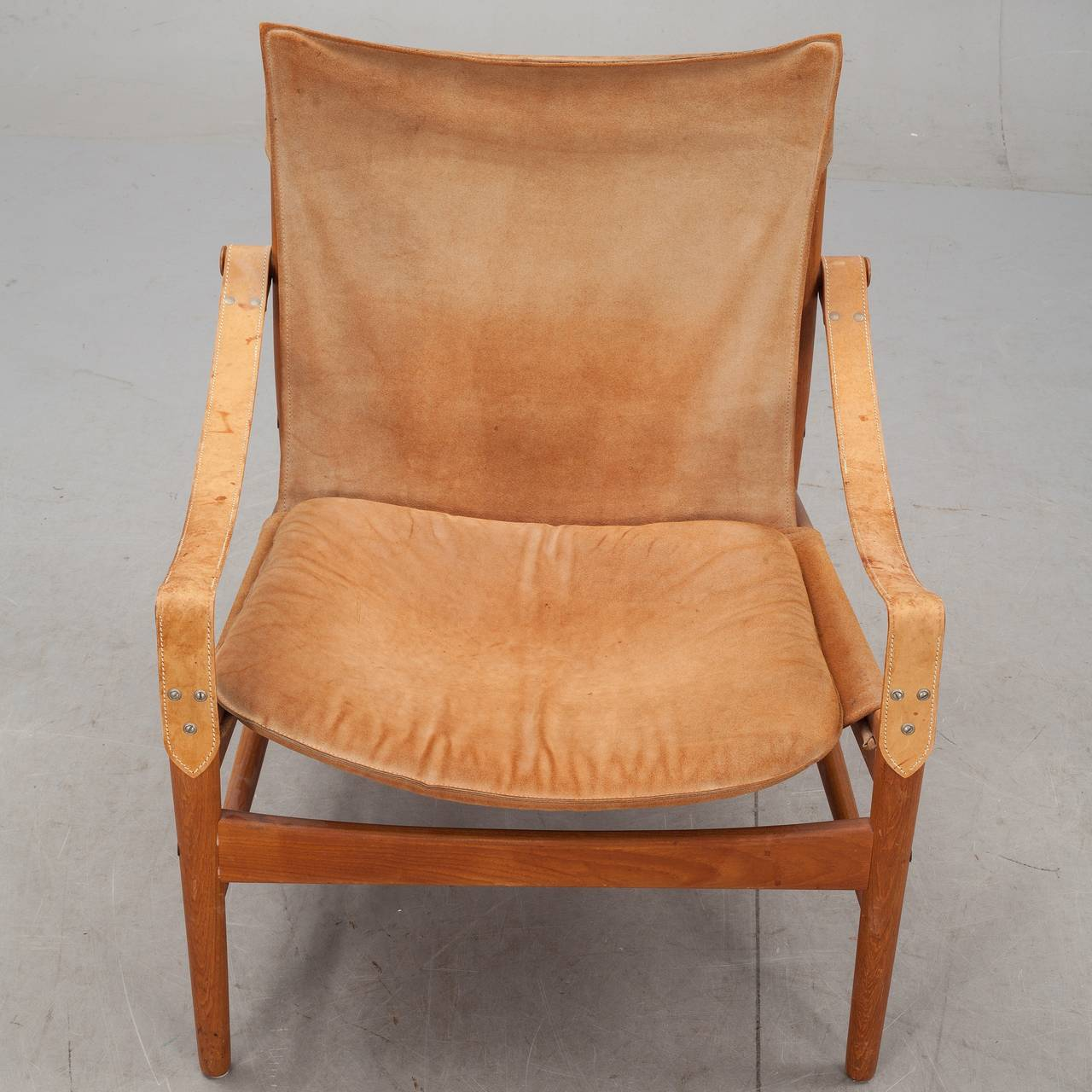 leather safari chair wingback covers hans olsen 1960s suede and at 1stdibs