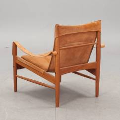 Leather Safari Chair Linen Wingback Cover Hans Olsen 1960s Suede And At 1stdibs