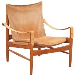 Leather Safari Chair Wheelchair Shower Hans Olsen 1960s Suede And At 1stdibs