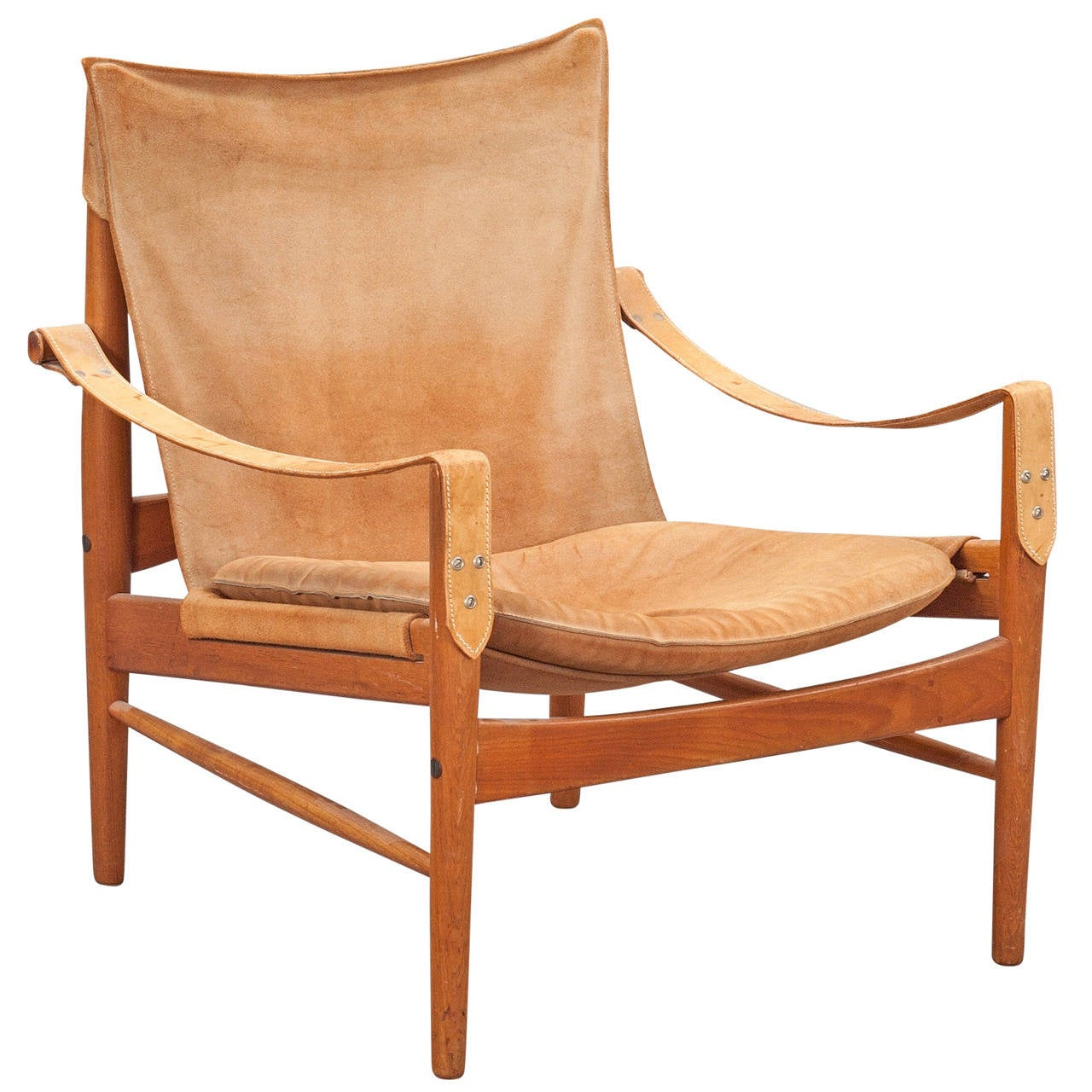 Safari Chair Hans Olsen 1960s Suede And Leather Safari Chair At 1stdibs