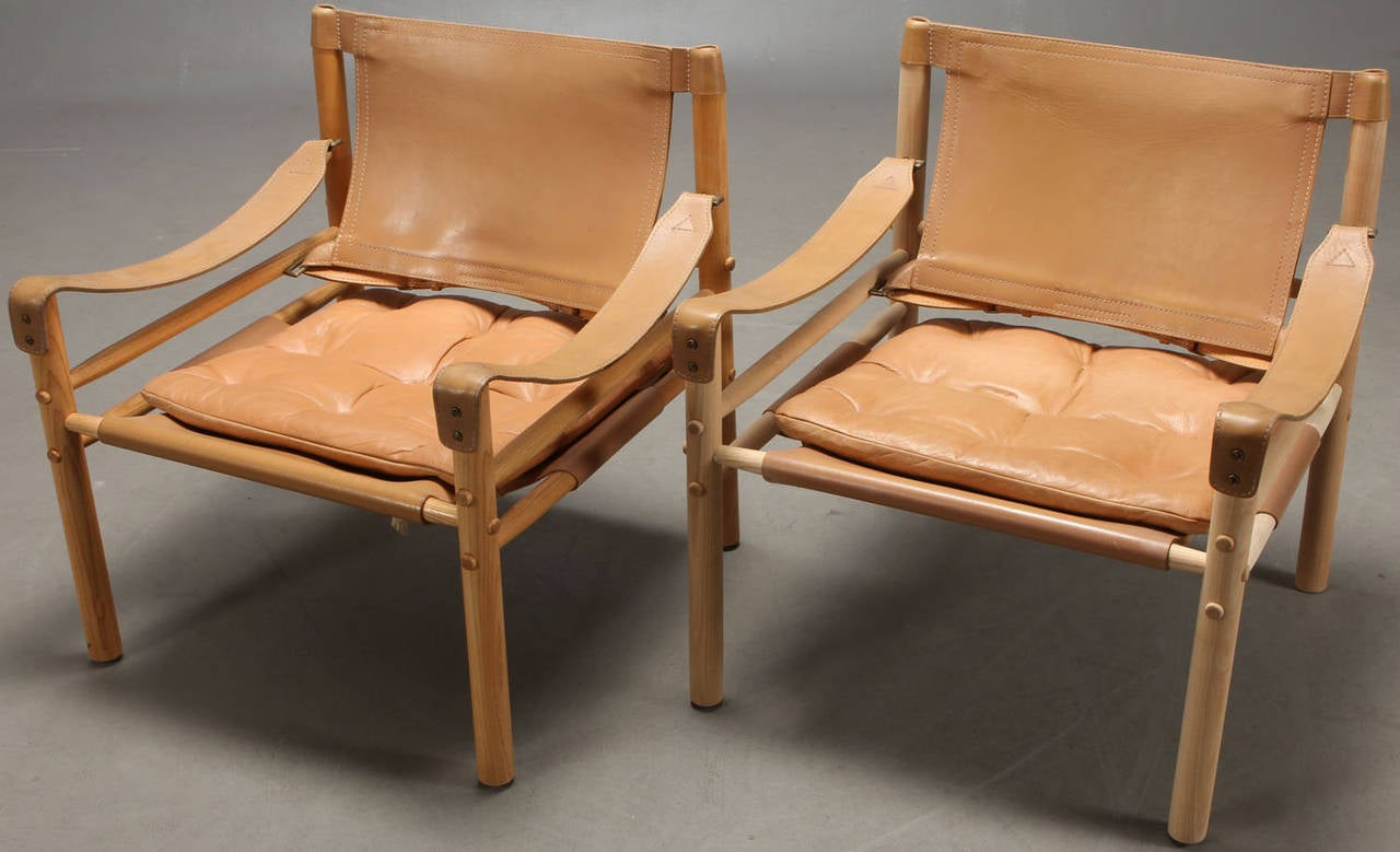 Safari Chair Pair Of Leather Sirocco Safari Chairs By Arne Norell