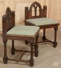 Pair of Antique Gothic Vanity Chairs at 1stdibs