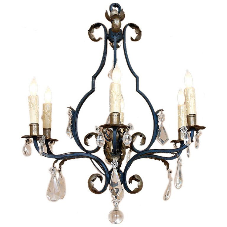 Antique Wrought Iron And Crystal Chandelier At 1stdibs
