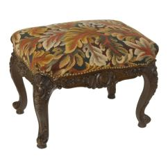 Folding Chair Leather Ikea Antique Tapestry Footstool At 1stdibs