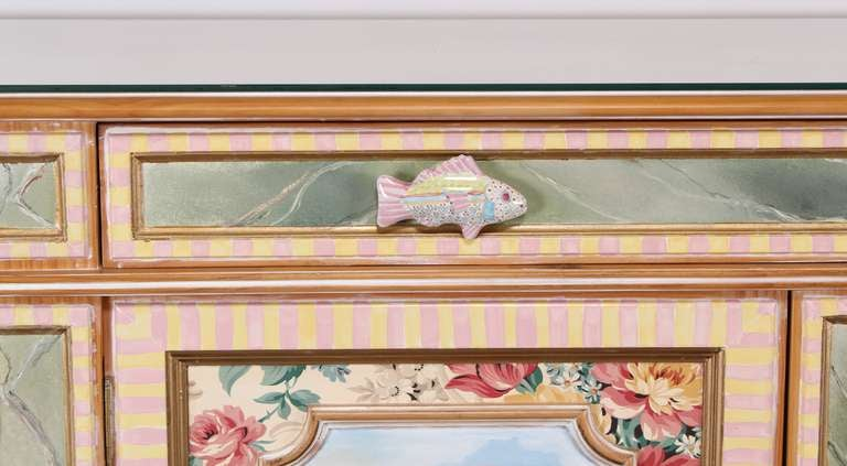 Mackenzie Childs Whimsical Credenza Or Buffet At 1stdibs