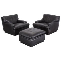 Black Chair And Ottoman Wedding Covers Middlesbrough Pair Of Leather Chairs By Arne Norell