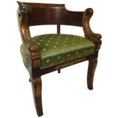 Leather Bergere Chair And Ottoman Tiger Print Covers Pair Charles X Arm Chairs Lion's Head Supports For Sale At 1stdibs