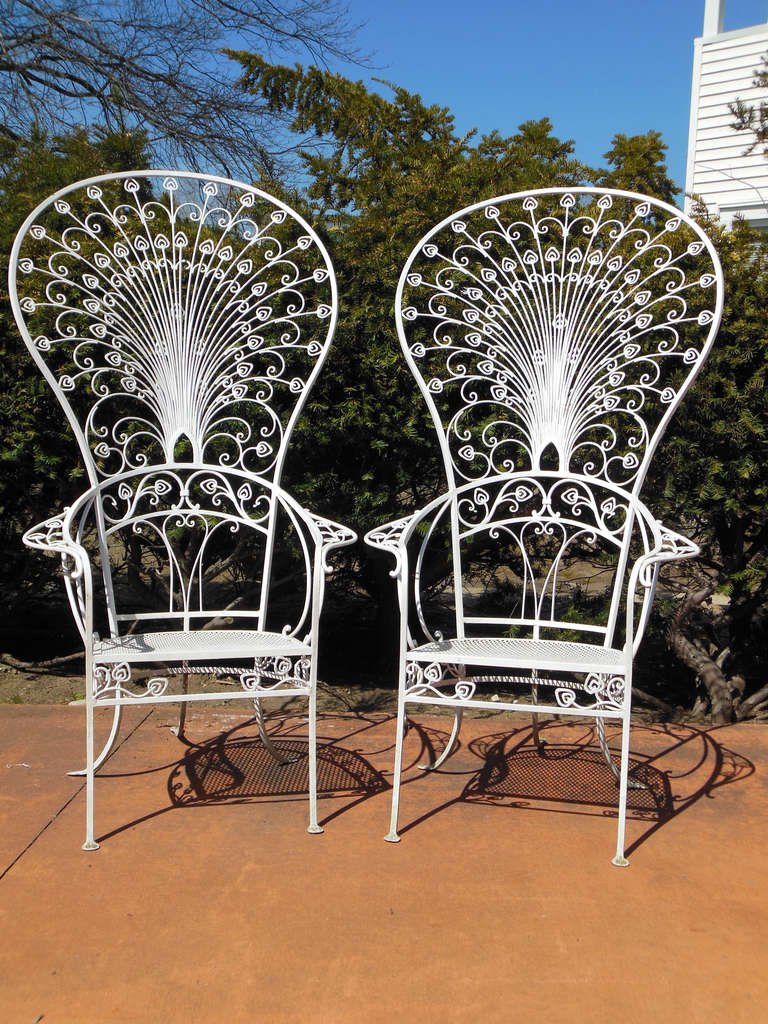 vintage peacock chair rental birmingham al salterini chairs for sale at 1stdibs a pair of 5 ft tall wrought iron by these were