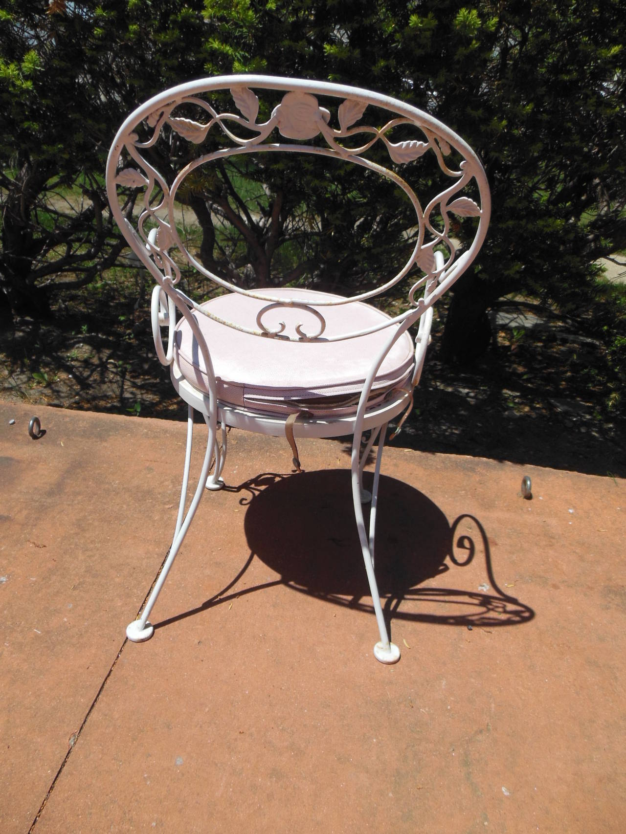 4 chair dining set patio furniture chairs set, woodard wrought iron chantilly rose pattern at 1stdibs