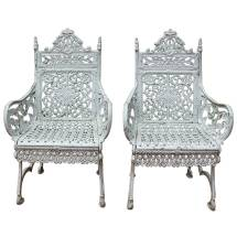Pair Of 19th Century Cast Iron Chairs Peter Timmes Ny