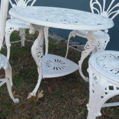 Antique Cast Iron Garden Table And Chairs Recliner Rocking Chair Bistro Set Five Pieces At 1stdibs Belle Epoque For Sale