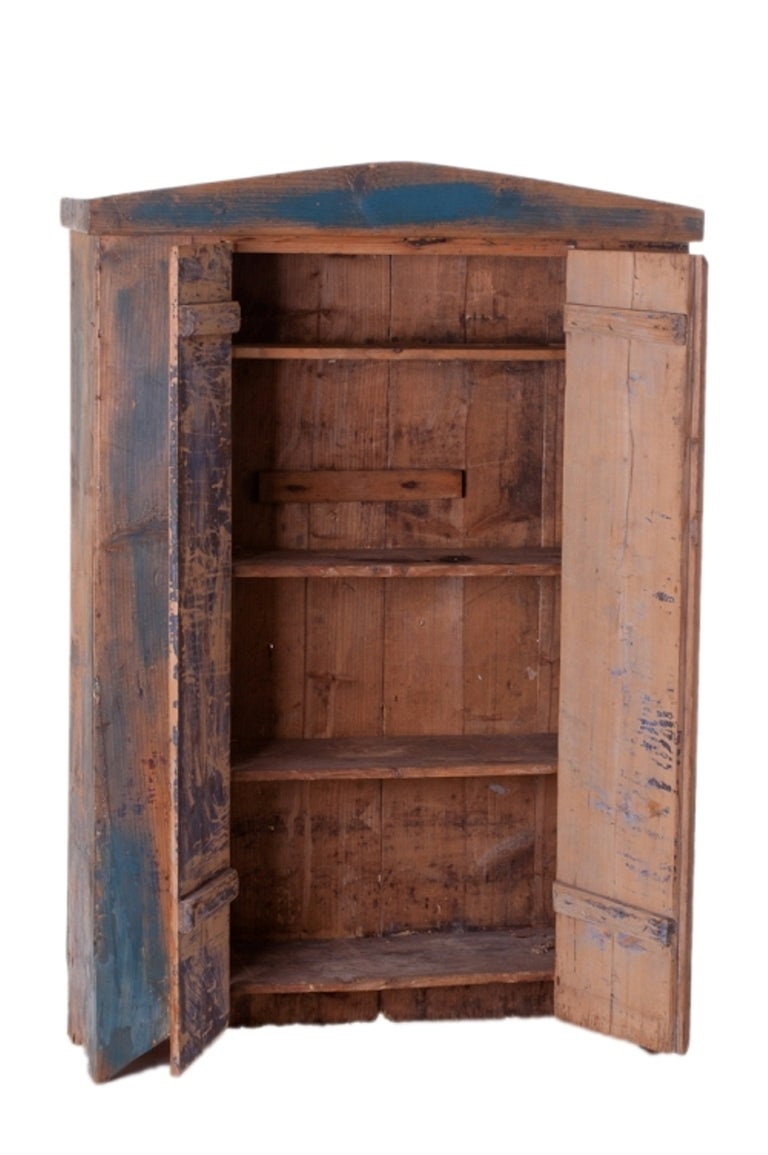 Original Blue Painted Antique Pine Cupboard at 1stdibs