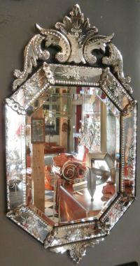 Very Fine Antique Venetian Etched-Glass Mirror in Medium ...
