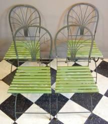 Art Deco Period Folding Garden Chairs Stylized Palm Trees