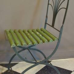 Patio Chair Feet Alera Elusion Uk Art Deco Period Folding Garden Chairs, Stylized Palm Trees, Set Of Four At 1stdibs