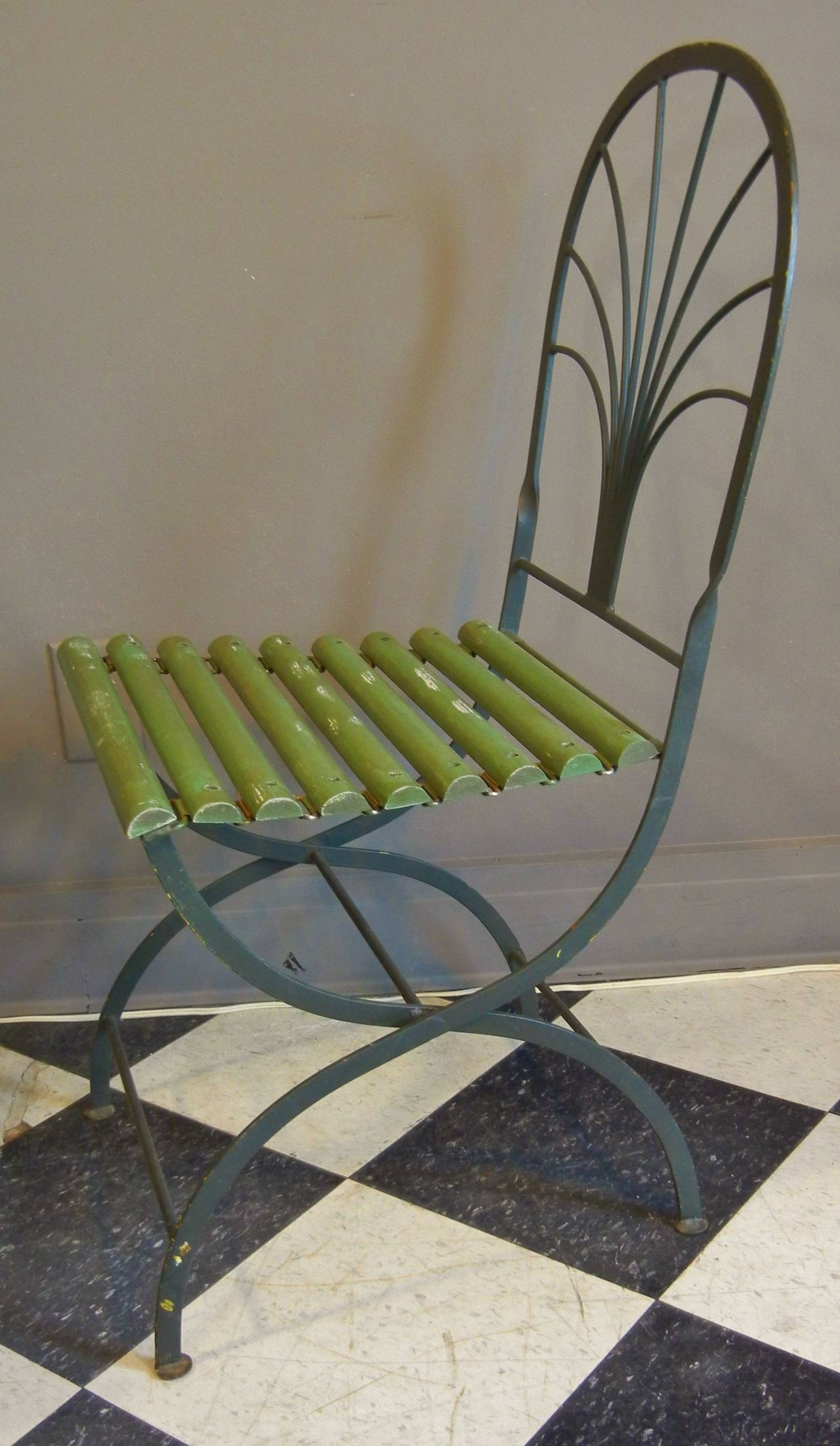 black metal folding garden chairs chair art deco period chairs, stylized palm trees, set of four at 1stdibs