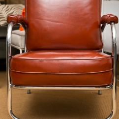 Steel Vinyl Chair Reclining Leather With Ottoman Mint 1940's Chrome Club Pair At 1stdibs