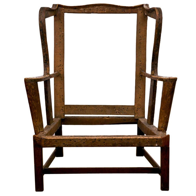 Chippendale Antique Wing Chair Frame at 1stdibs