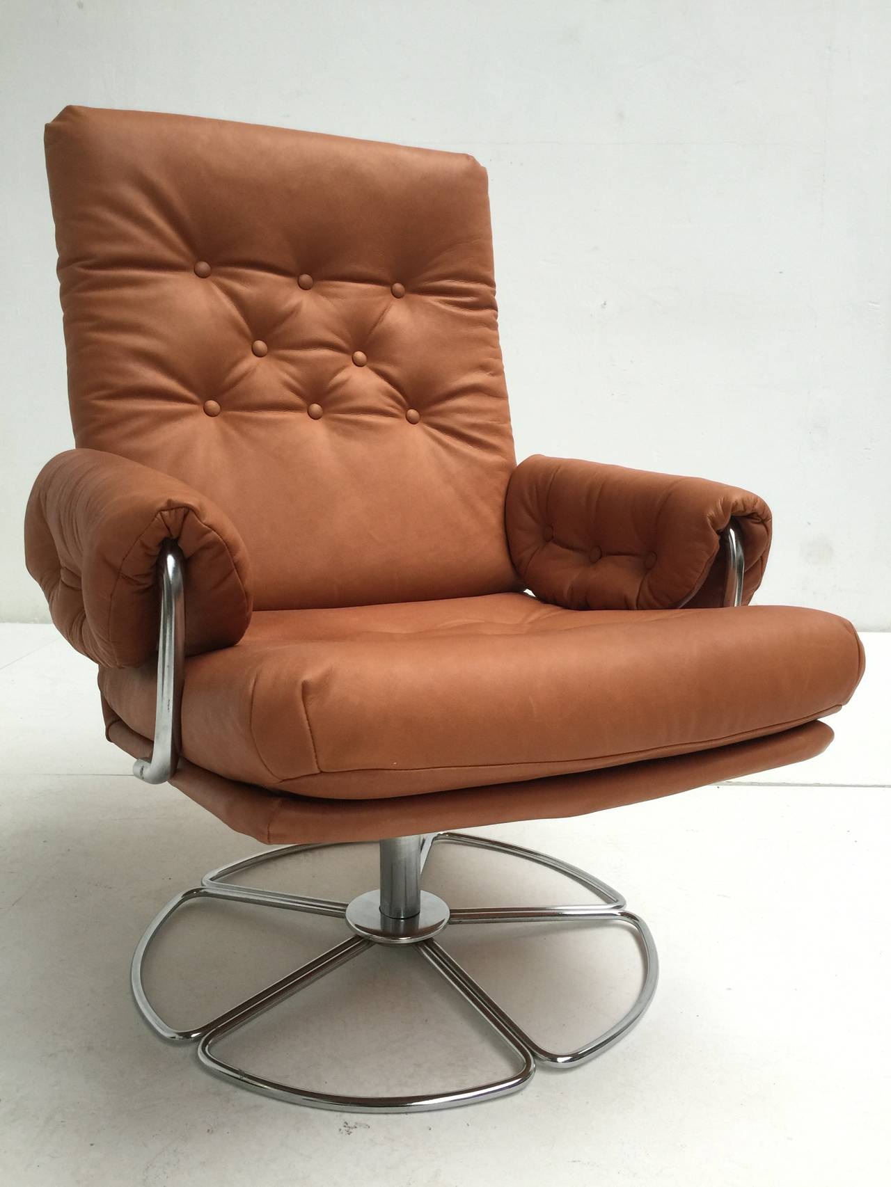 easy chair nadir steel chrome blue ikat rare bruno mathsson leather and swivel