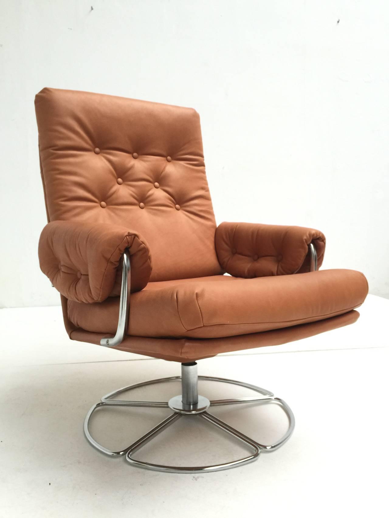 easy chair nadir steel chrome office leans forward rare bruno mathsson leather and swivel