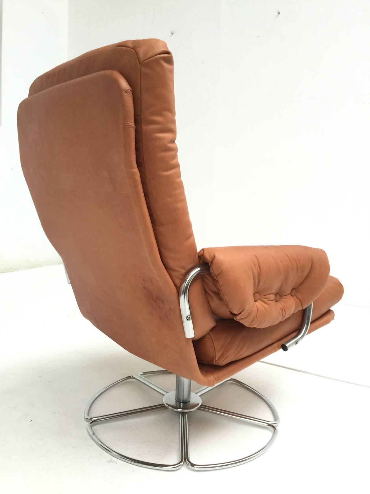 easy chair nadir steel chrome desk mat ikea rare bruno mathsson leather and swivel