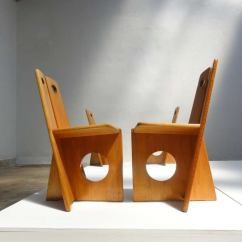 Leather Tufted Dining Chair Target Baby High Chairs Set Of 4 Dutch Pine Wood Gerrit Rietveld Influenced Or Side At 1stdibs
