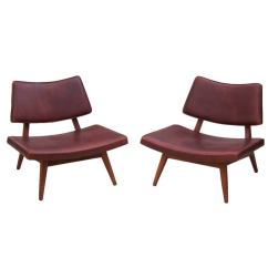 Emil Leather Slipper Chair Arm Table Rare Jens Risom Walnut Lounge Chairs In At