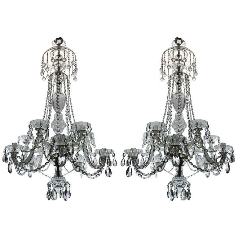 A Pair Of Fine French Cut Glass Chandeliers at 1stdibs