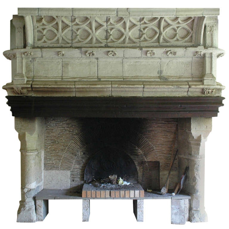 Fair Wooden Antique Fireplace Mantels And Old Fireplace Mantels Monumental Gothic Period Stone Fireplace At 1stdibs
