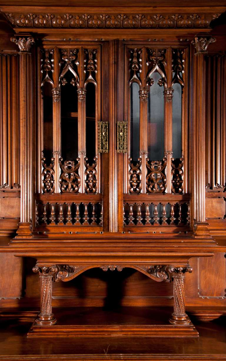 Neo Gothic Style Buffet Made Out Of Carved Walnut By