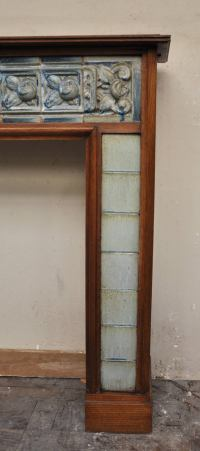 Antique Art Nouveau Period Fireplace Made Out of Oak Wood ...