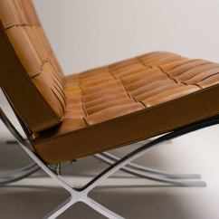 Barcelona Chair Leather Single Bed Fold Out Chairs In Saddle By Mies Van Der Rohe