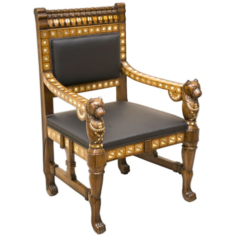 bent wood dining chairs western style leather egyptian revival throne chair at 1stdibs
